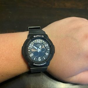 Baby G shock resistant black and white watch